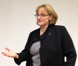 Yale University astrophysicist Meg Urry spoke about gender bias in science at the July 30 Fermilab Colloquium. Photo: Lauren Biron