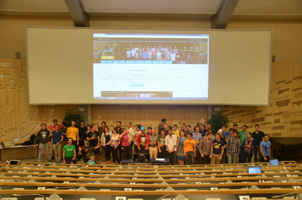 Participants of the CERN Summer Student Webfest 2014 in the CERN Auditorium after three busy days' coding.
