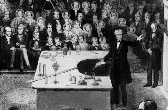 Michael Faraday, a self-taught physicist from a poor background, giving a Royal Society Christmas Lecture, perhaps inspiring aspiring scientists in the audience. (Alexander Blaikley)