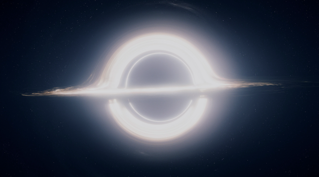 The black hole featured in Interstellar. Equations from physicist Kip Thorne were used to model the lensing of light around the black hole.