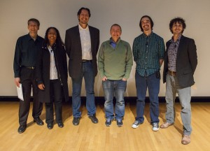 The slammers at this year's Fermilab Physics Slam were, Michael Hildreth, University of Notre Dame (far left); Marcelle Soares-Santos, Fermilab (second from left); Vic Gehman, Los Alamos National Laboratory (third from left); Wes Ketchum, Fermilab (second from right); Joseph Zennamo, University of Chicago. Fermilab Director Nigel Lockyer (third from right) congratulated all the participants. Photo: Cindy Arnold