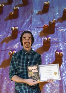 Wes Ketchum of the MicroBooNE collaboration is the Physics Slam III champion. Ketchum's slam was on the detection of particles using liquid argon. Photo: Cindy Arnold