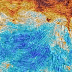 The region of the sky in which BICEP2 polarization, shown as dotted lines over Planck data. (Credit: ESA/Planck Collab. M.-A. Miville-Deschênes, CNRS, Univ. Paris-XI)