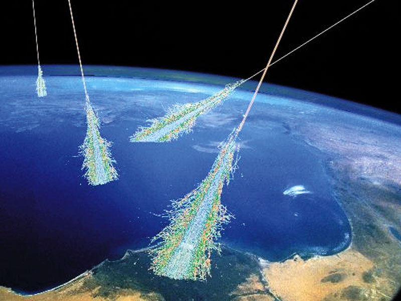 Fig. 1: An artist's rendition of cosmic rays . Image from http://apod.nasa.gov/apod/ap060814.html.