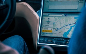 The Tesla plots the return trip to Chicago, locating the nearest charging station. Photo: Sam Paakkonen