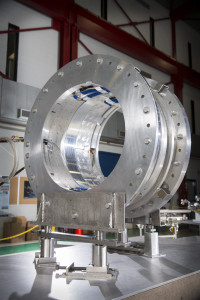 This prototype represents one of 27 modules that will make up a critical section of the Mu2e experiment, the transport solenoid. Photo: Reidar Hahn